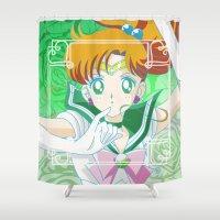 sailor jupiter Shower Curtains featuring Sailor Jupiter  by Neo Crystal Tokyo