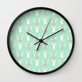 Deer antlers deer head silhouette cute modern minimal nature inspired nursery decor Wall Clock