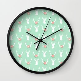 Deer antlers deer head silhouette cute modern minimal nature inspired nursery decor Wall Clock