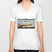 airplane V-neck T-shirts featuring Airplane by Cindys