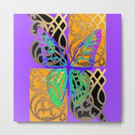 Lavender-Gold Turquoise Butterfly Metal Print