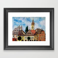 Evangelical Church Tower from Sibiu Transylvania Framed Art Print