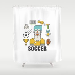 Soccer (football) player with sports elements Shower Curtain