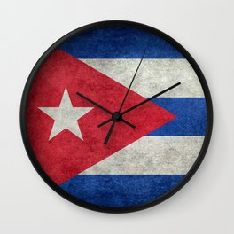 Flag of Cuba - vintage retro version Wall Clock