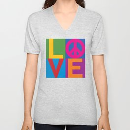 Love Peace Color Blocked Unisex V-Neck