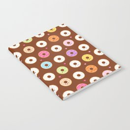 Kawaii Donuts Pattern on Brown Notebook
