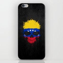 Flag of Venezuela on a Chaotic Splatter Skull iPhone Skin