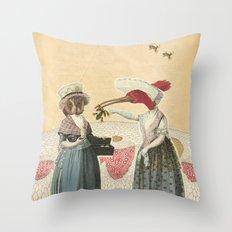 bird neighbors (collage) Throw Pillow