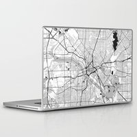 dallas Laptop & iPad Skins featuring Dallas Map Gray by City Art Posters