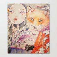 kitsune Canvas Prints featuring Kitsune by Eszter Nagy