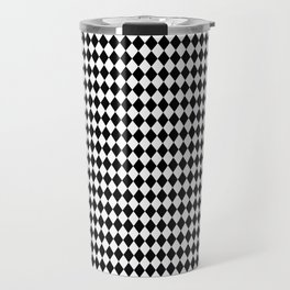mini Black and White Mini Diamond Check Board Pattern Travel Mug
