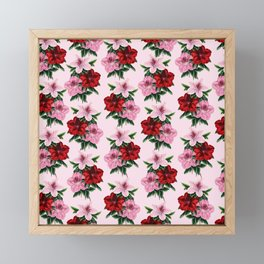 Red Pink Floral Pattern Framed Mini Art Print