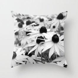 Black and White Susans (Black-Eyed Susan Wildflowers) Throw Pillow