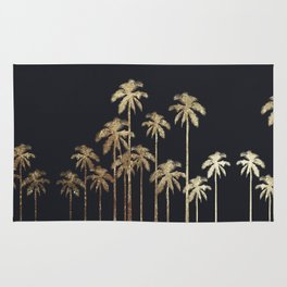 Glamorous Gold Tropical Palm Trees on Black Rug