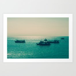Endless Horizon. Boats Sailing into the Sea. Vintage Photography. Art Print