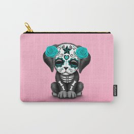 Cute Blue and Pink Day of the Dead Puppy Dog Carry-All Pouch