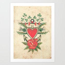 Vintage Tattoo Design with an Anchor and Heart Art Print