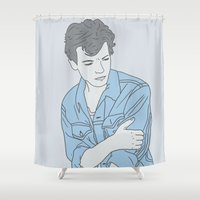 louis tomlinson Shower Curtains featuring Blue Louis by worksbeautifully
