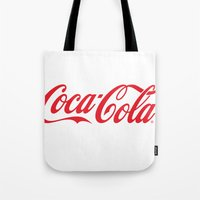 coca cola Tote Bags featuring Coca Cola by ZenthDesigns