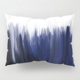 Modern blue cobalt black oil paint brushstrokes abstract Pillow Sham