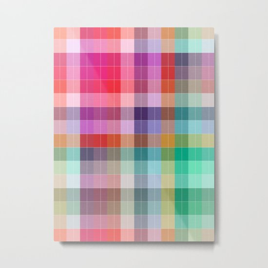 Bright Plaid Metal Print