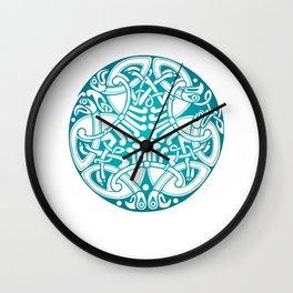 St. Patrick's Day Celtic Blue Mandala #6 Wall Clock