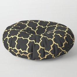 Black Gold Quattrefoil Floor Pillow