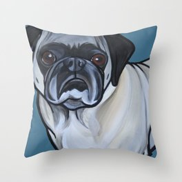 Murphy the pug Throw Pillow