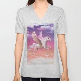 Flying unicorn at sunset Unisex V-Neck