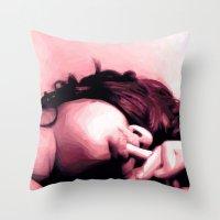 lip Throw Pillows featuring Honey lip by NK sharma