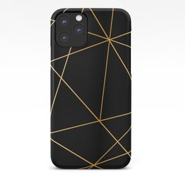 Geometric black gold iPhone Case