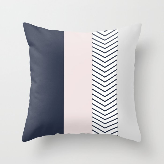 Navy Blush And Grey Arrow Throw Pillow By Emilydownward
