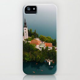 Small Island in the middle of Lake, Bled, Slovenia, architecture iPhone Case