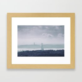 The view from Monsanto. Ponte 25 de Abril. Lisboa, Portugal. Framed Art Print