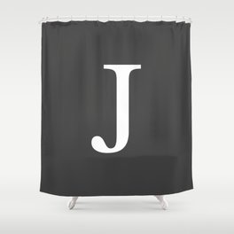 Very Dark Gray Basic Monogram J Shower Curtain