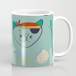 cat and bear at the beach blue green Coffee Mug