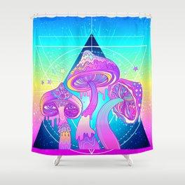 Magic Mushrooms over Sacred Geometry Shower Curtain