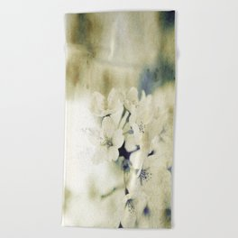Yellow Green Vintage Cherry Flowers Beach Towel
