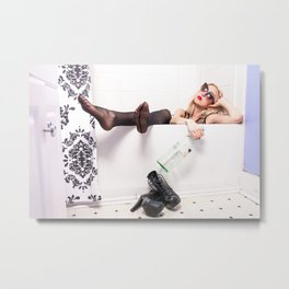 Blonde woman with sunglasses dressed in bathtub Metal Print