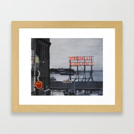 Pike Place Market - Black & White & Neon -Seattle Washginton Framed Art Print