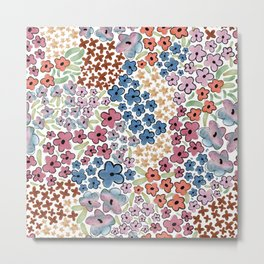479-Watercolor pastel cute ditsy floral pattern Metal Print