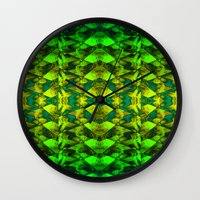 green pattern Wall Clocks featuring Green pattern. by Assiyam