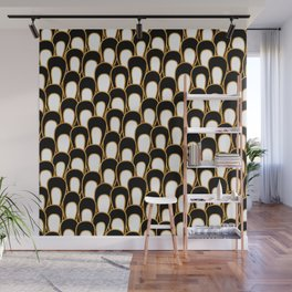 Abstract Loops in Gold, Black and White Wall Mural