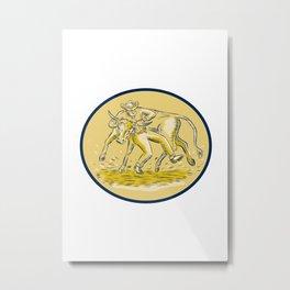Rodeo Cowboy Steer Wrestling Bull Oval Etching Metal Print