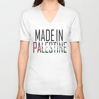 palestine V-neck T-shirts featuring Made In Palestine by VirgoSpice