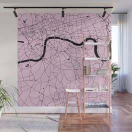 London Pink on Black Street Map Wall Mural