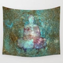Watercolor Mandala Buddha in Galaxy Wall Tapestry