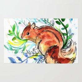 Cute Korea squirrel in sping flowers Rug