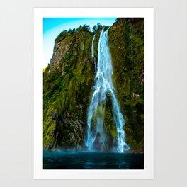 Fiordland Waterfall - Milford Sound, New Zealand Art Print