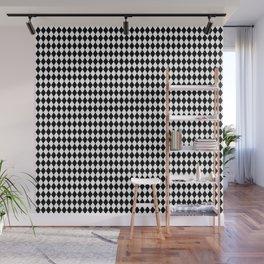 mini Black and White Mini Diamond Check Board Pattern Wall Mural